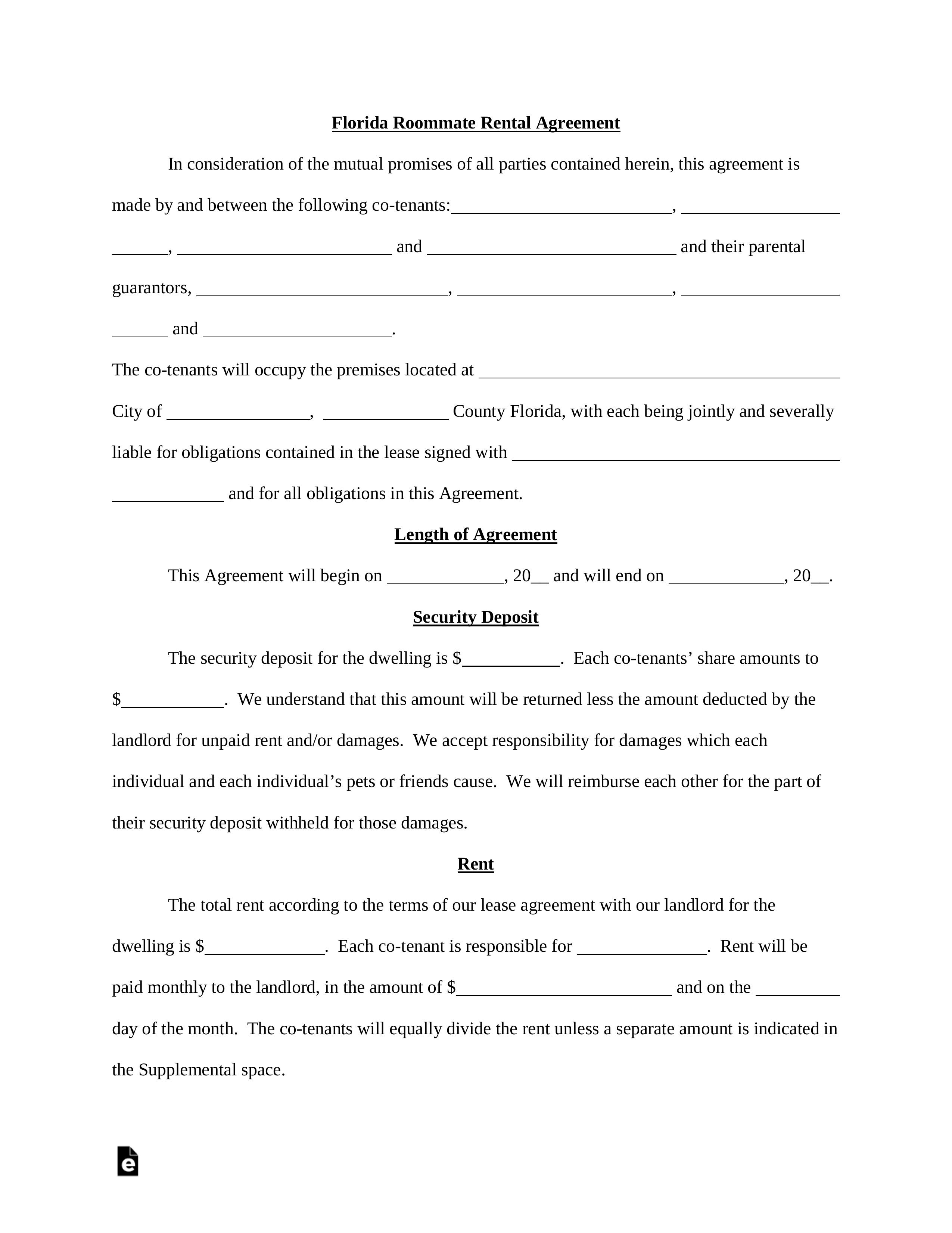 Florida Rental Agreement Template