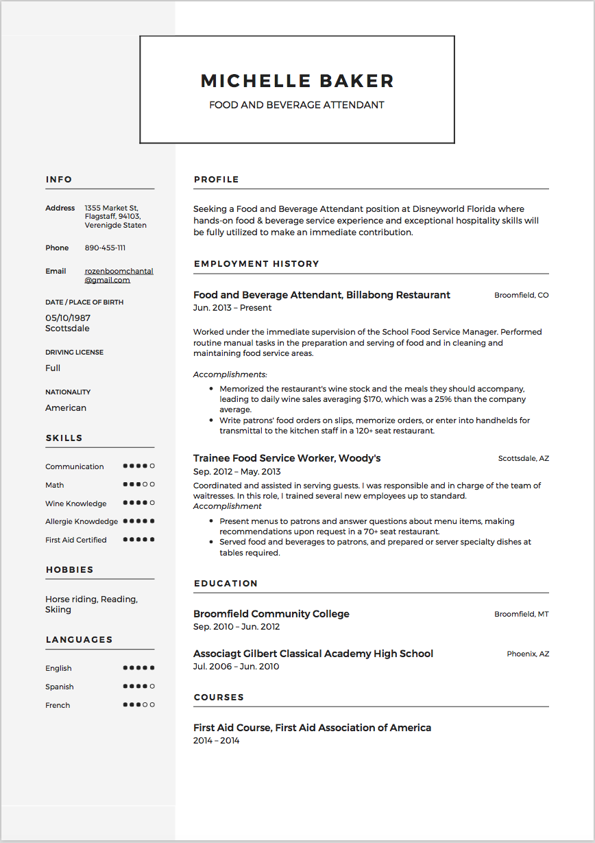 Food And Beverage Resume Template