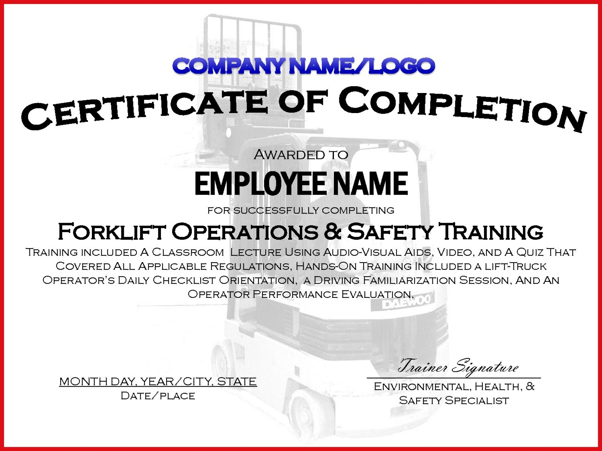 Forklift Certificate Template Free