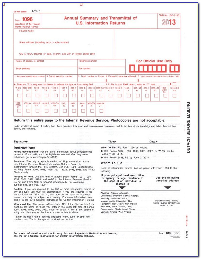 Form 1096 Word Template