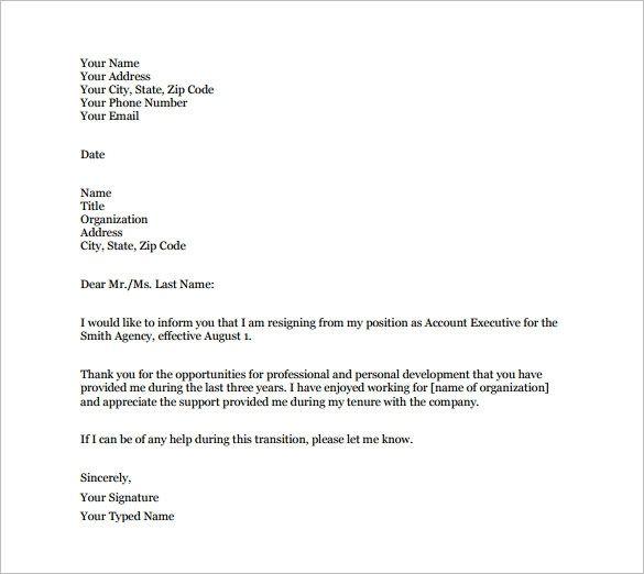 Formal Letter Resignation Template