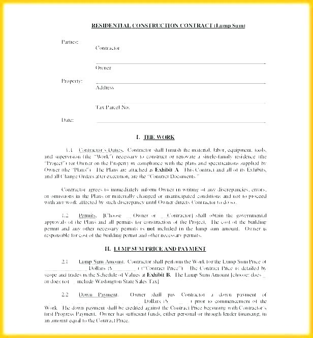 Free Building Contract Template