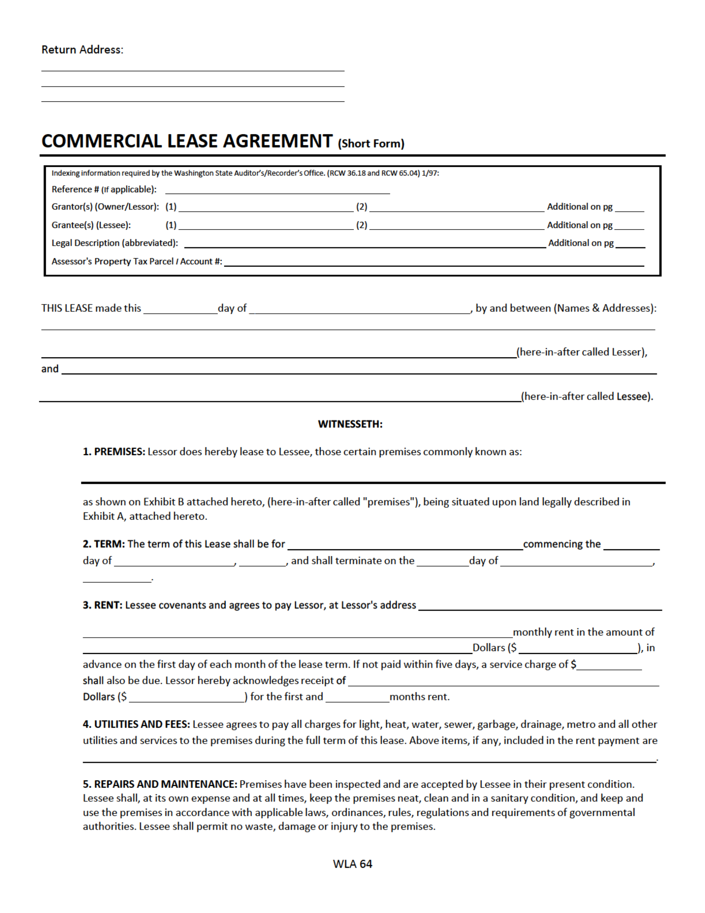 Free Commercial Lease Agreement Template Download Uk