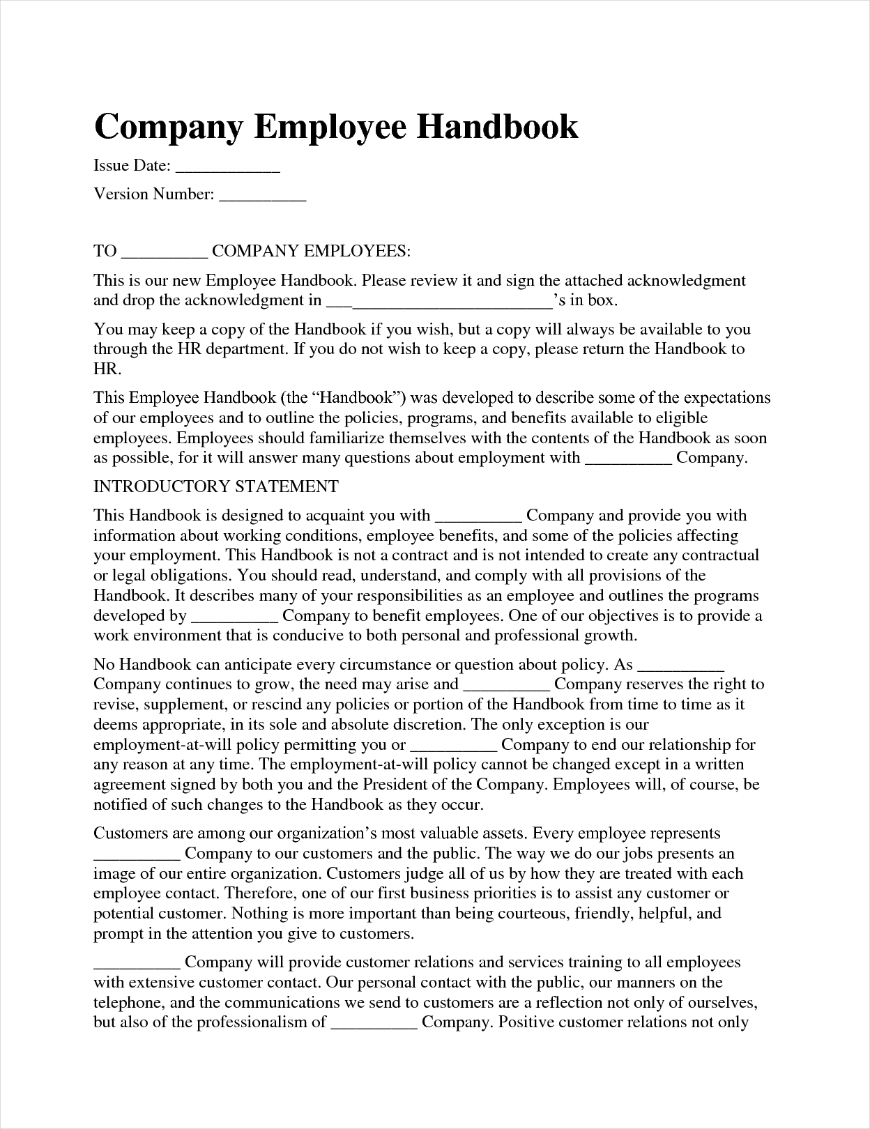 Free Company Handbook Template
