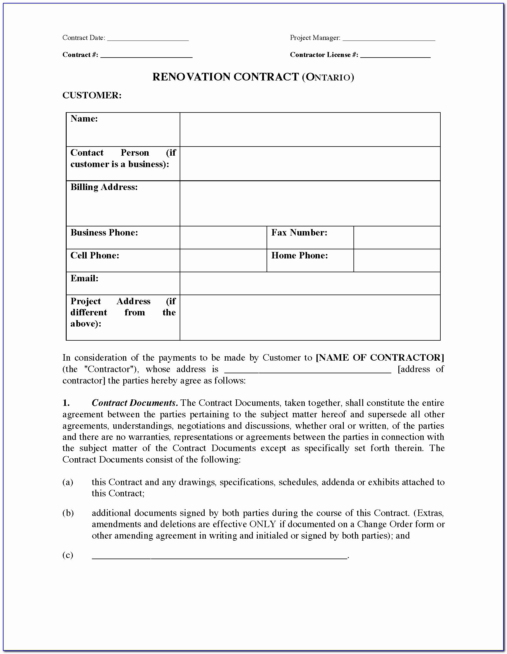Drywall Contract Template Unique Contract Remodeling Contract Form Forms Renovation Template Free
