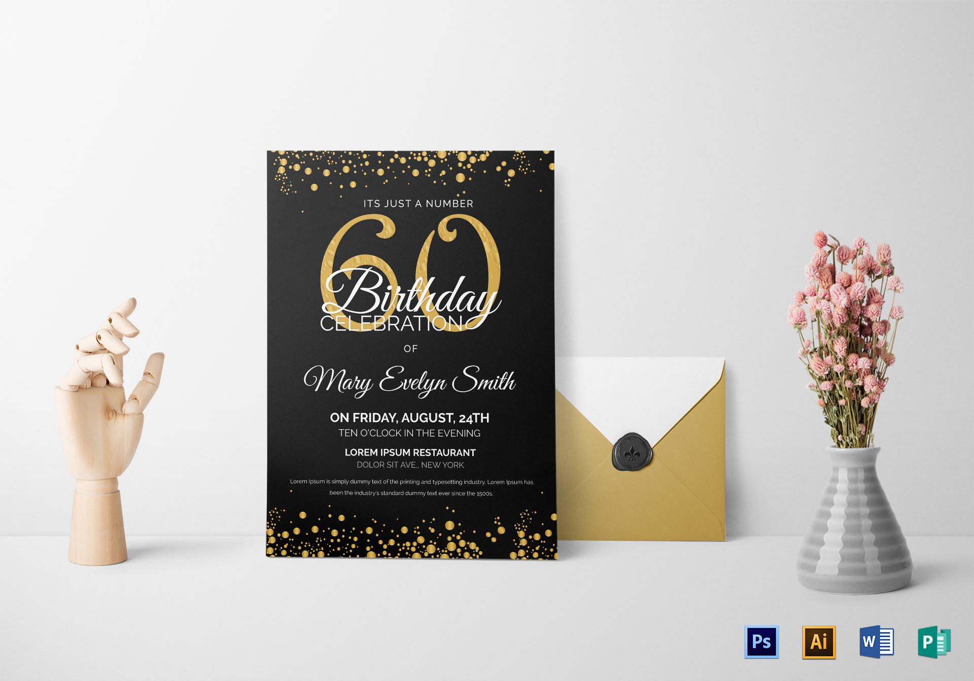 Free Editable 60th Birthday Invitation Templates