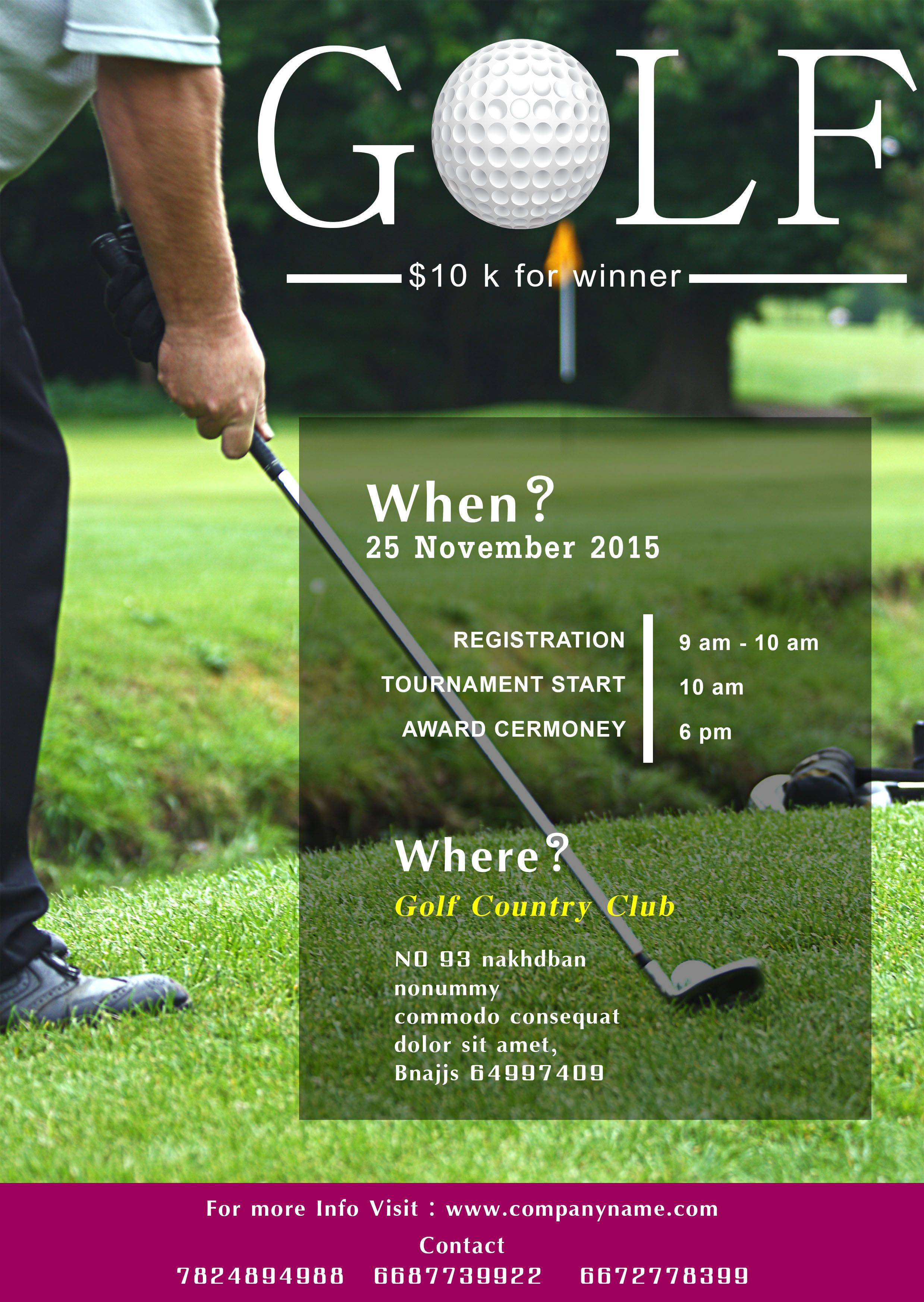 Free Golf Tournament Flyer Template