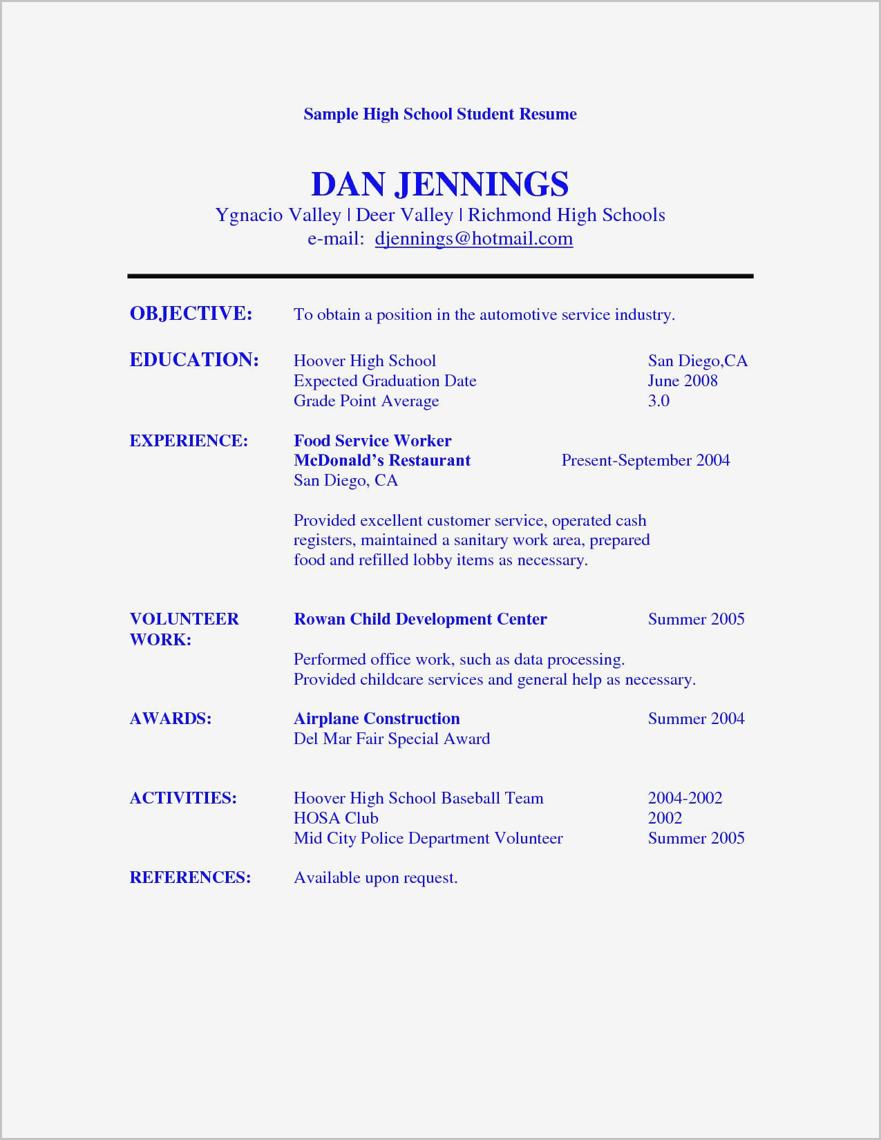 High School Student Resume Template Microsoft Word
