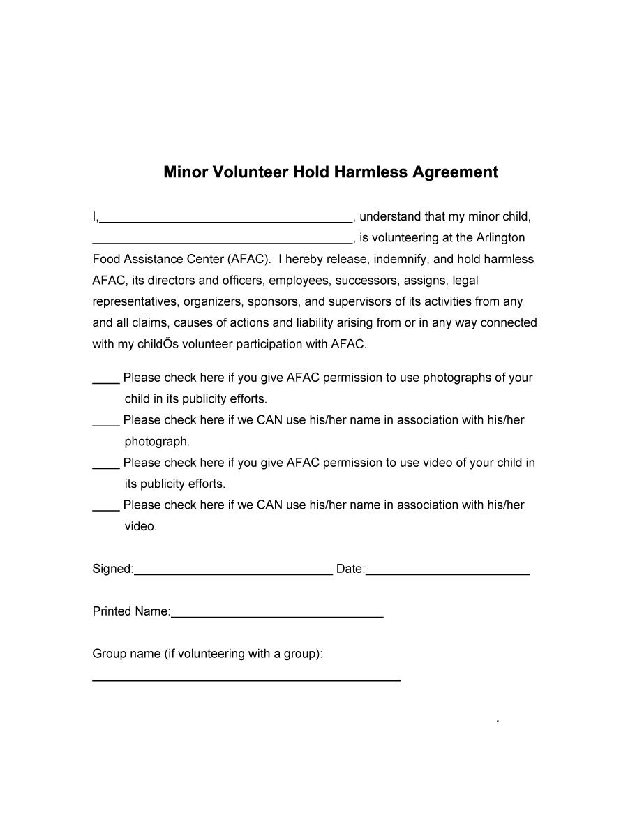Free Hold Harmless Agreement Template