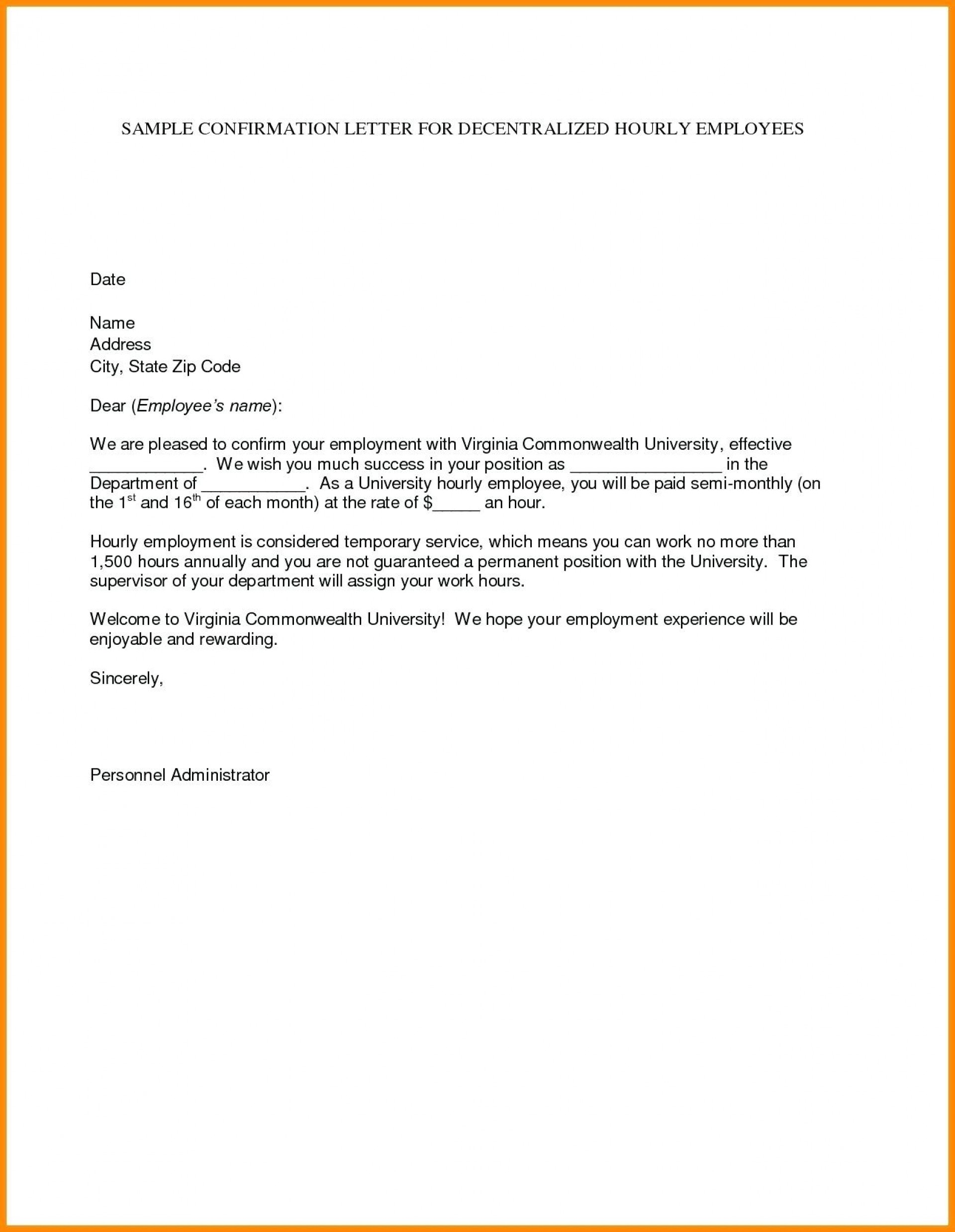 Free Letter Of Intent Template For Employment