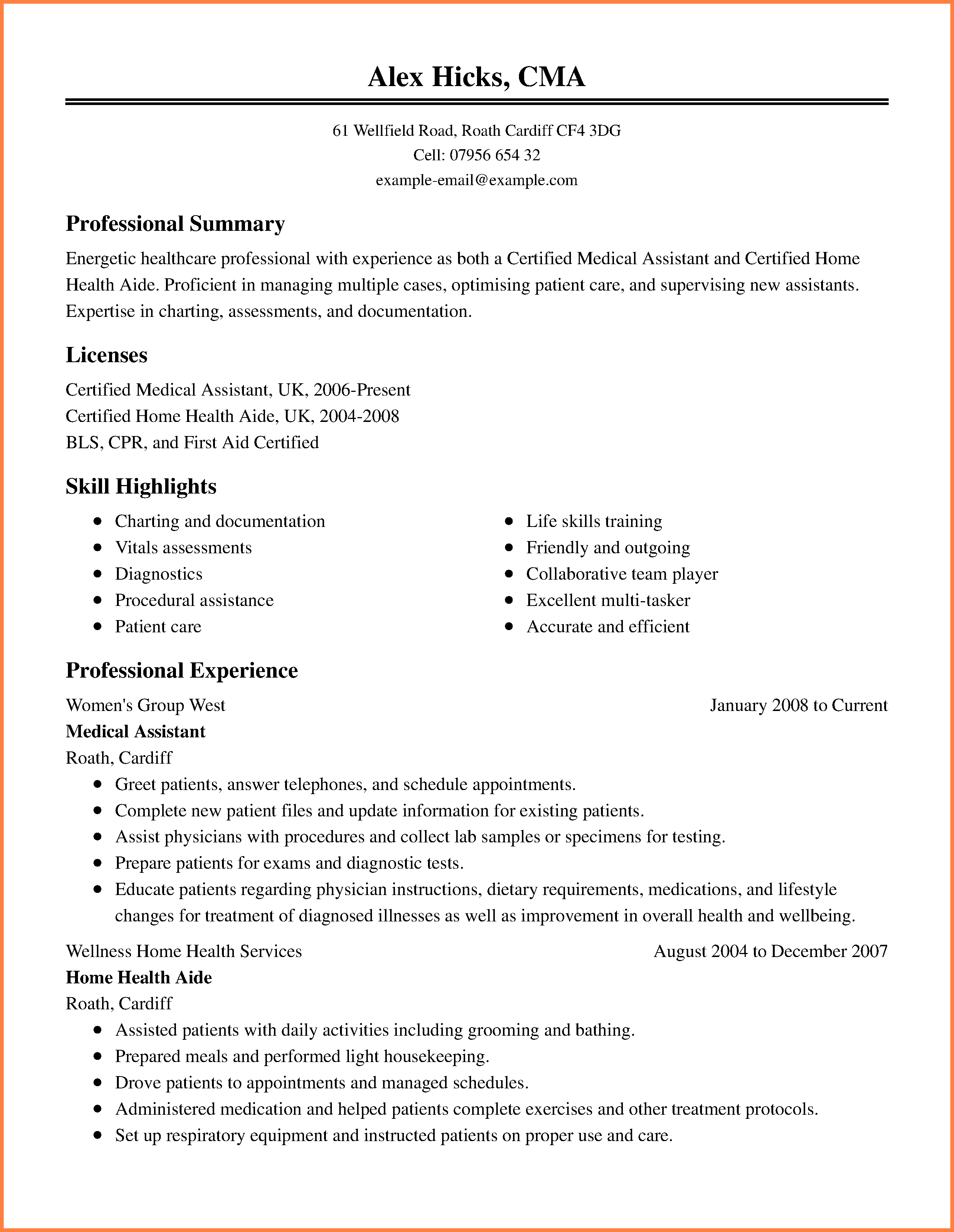 Free Medical Resume Template Microsoft Word