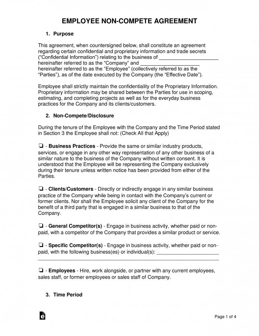 Free Non Disclosure Non Compete Agreement Template