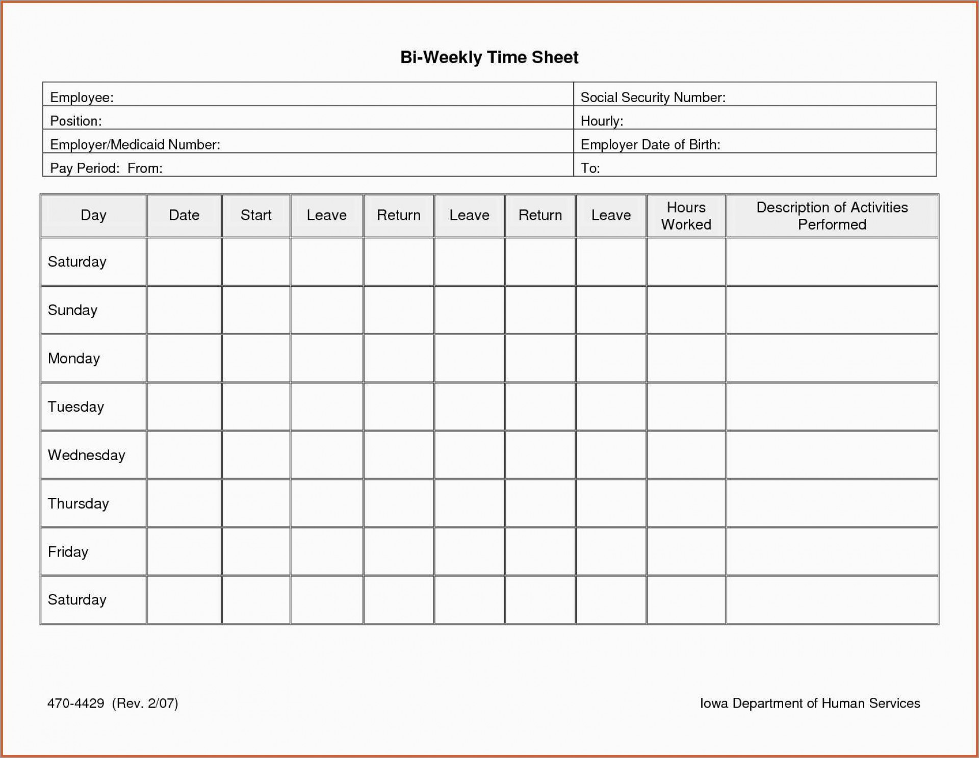 Free Printable Bi Weekly Timesheet Template
