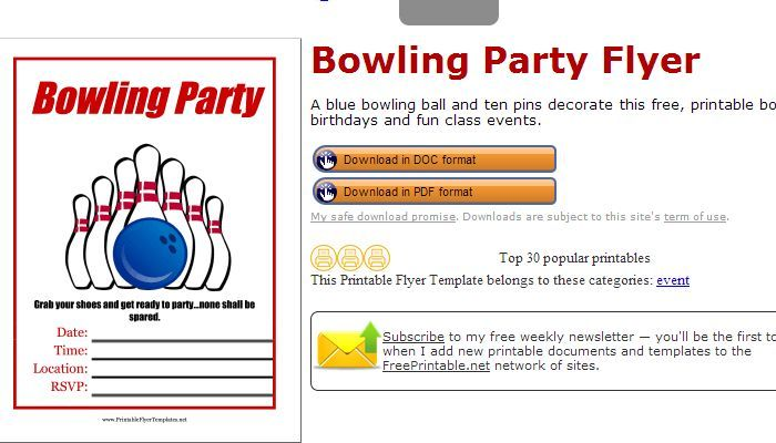 Free Printable Bowling Fundraiser Flyer Template