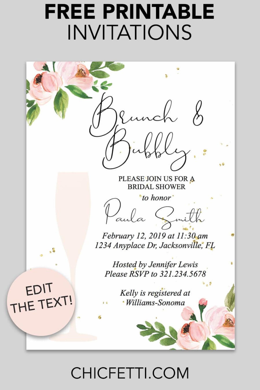 Free Printable Template Bridal Shower Invitations