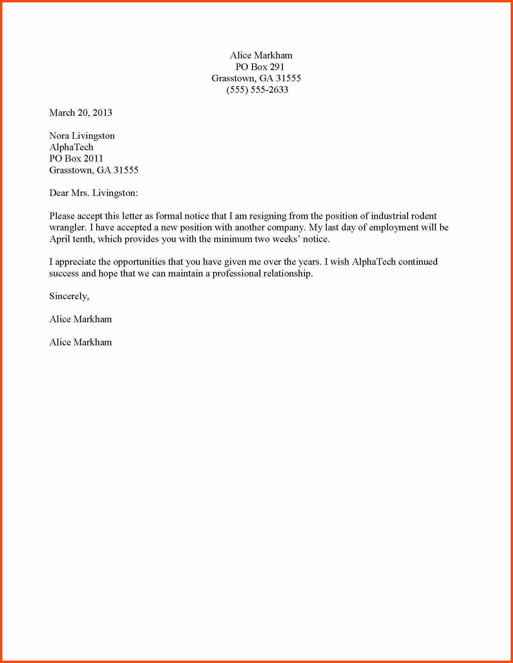 Sample – Formal Resignation 1