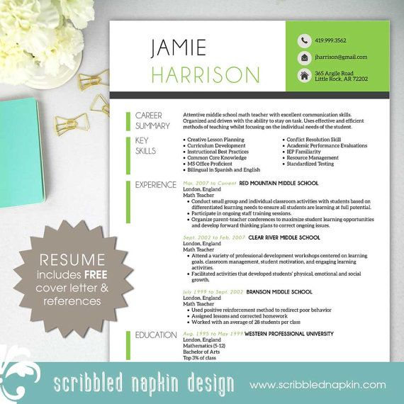 Free Teacher Resume Template Download