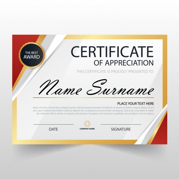 Free Template Certificate Of Appreciation