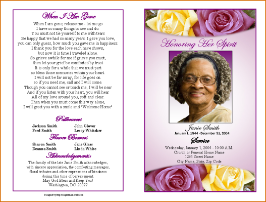 Free Template For Funeral Program