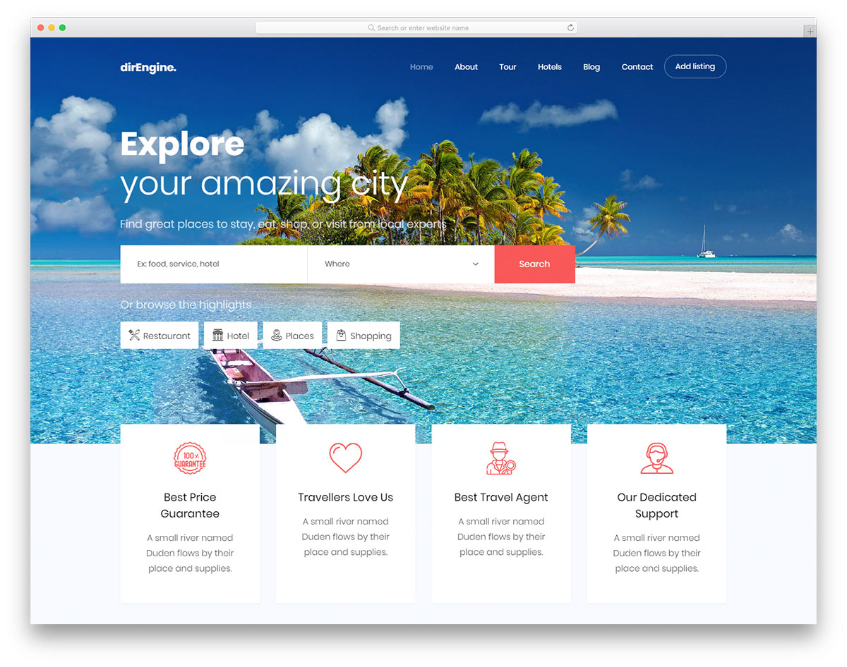 Free Travel Agency Website Templates