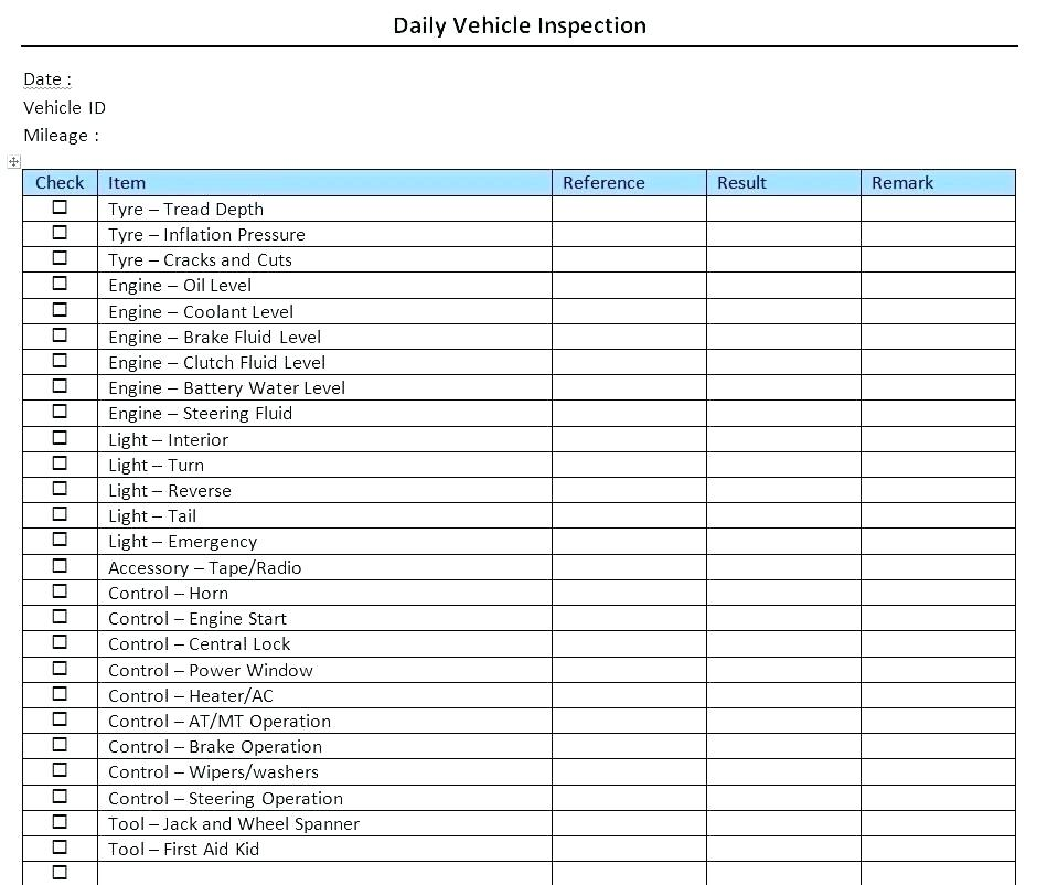 Free Vehicle Inspection Sheet Template