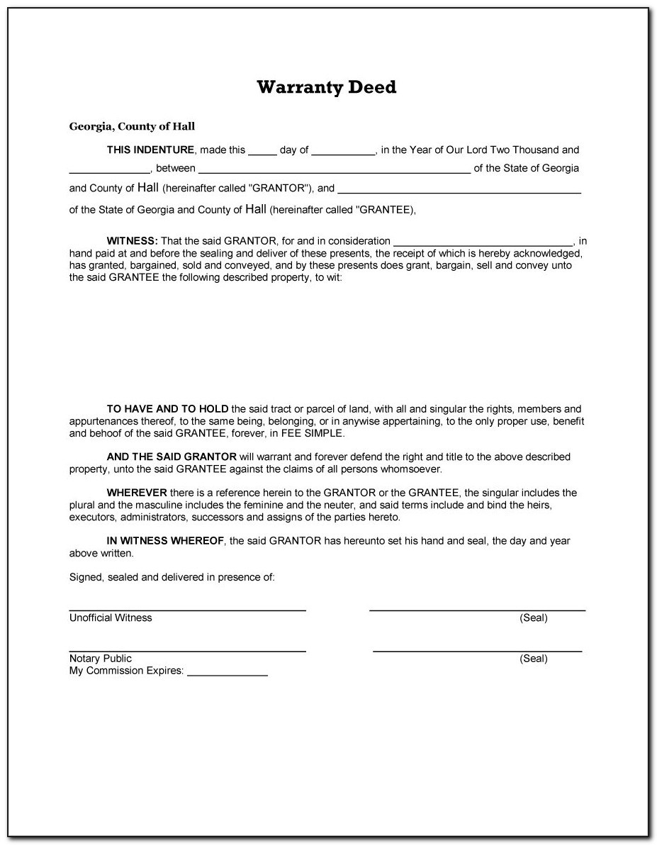 Free Warranty Deed Template