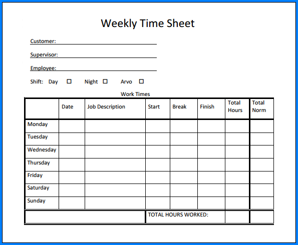 Free Weekly Timesheet Template Word