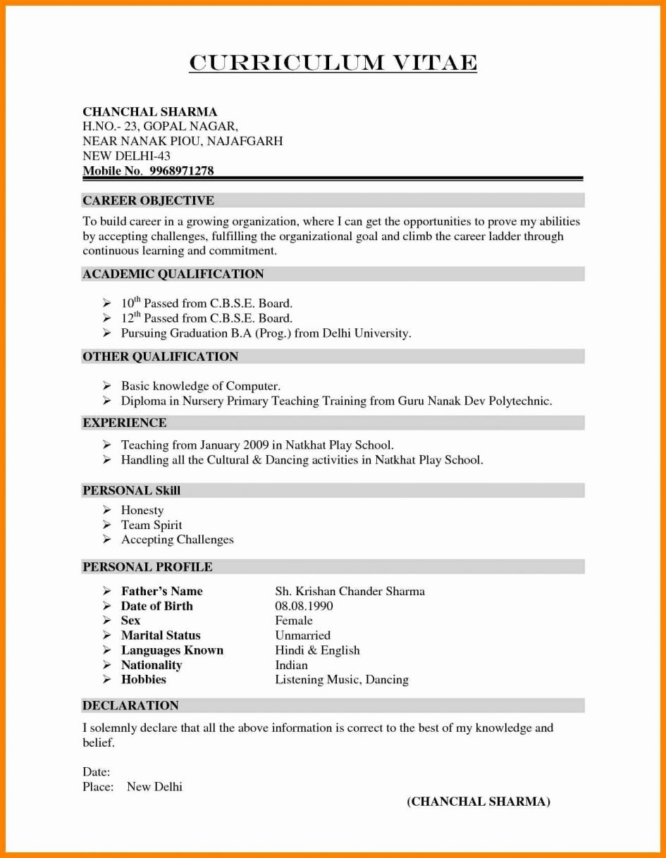 Fresher Resume Template Download In Ms Word