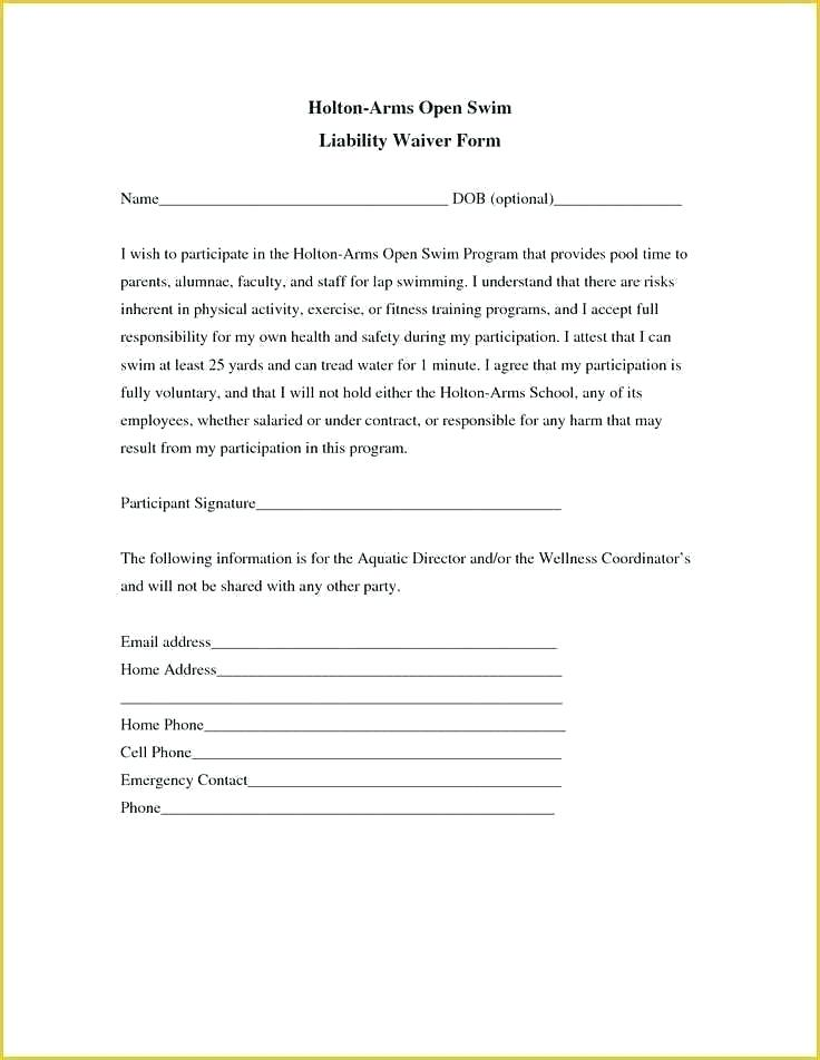 Generic Waiver Of Liability Template