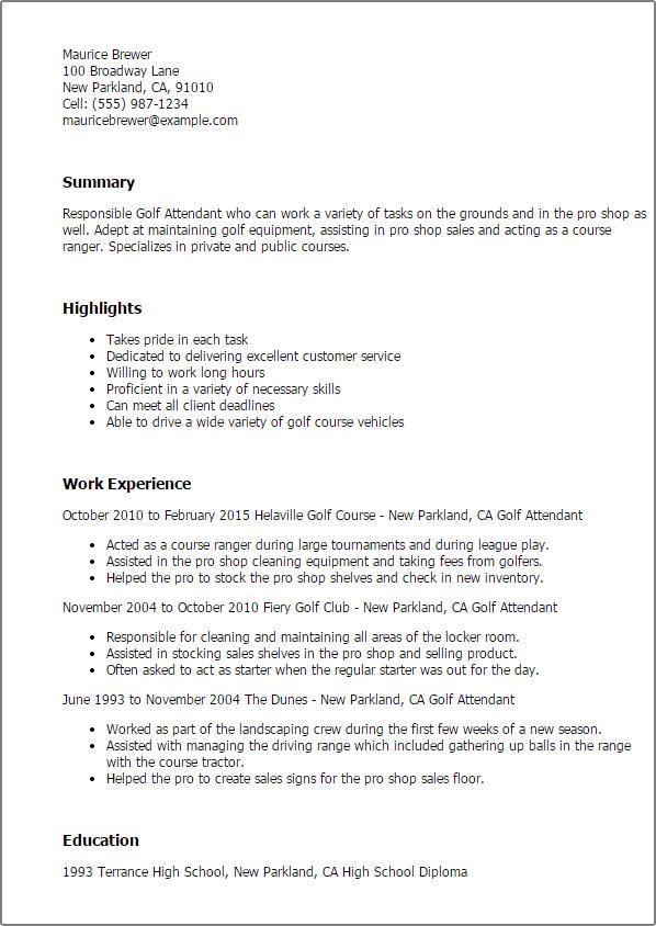 Golf Resume Template