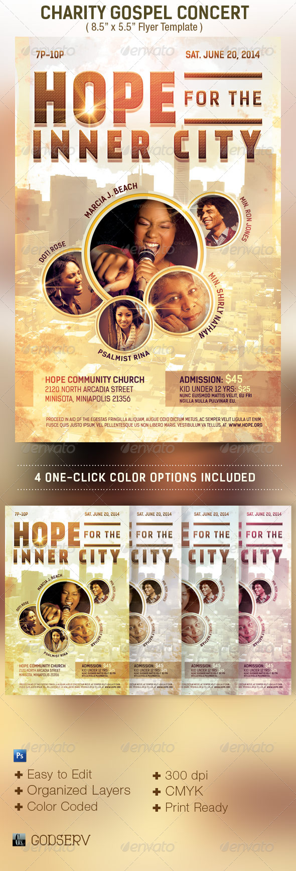Gospel Concert Flyer Template Free Psd