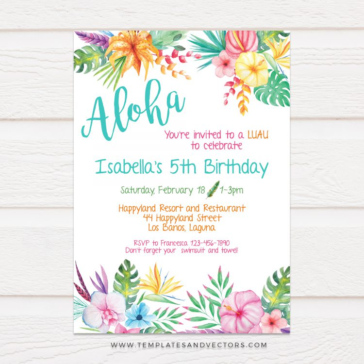 Hawaiian Invitation Template