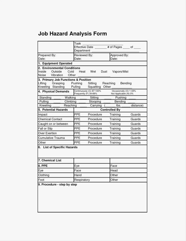 Osha Ppe Assessment Form Fresh Job Hazard Analysis Template Free Download New Modern Job Task