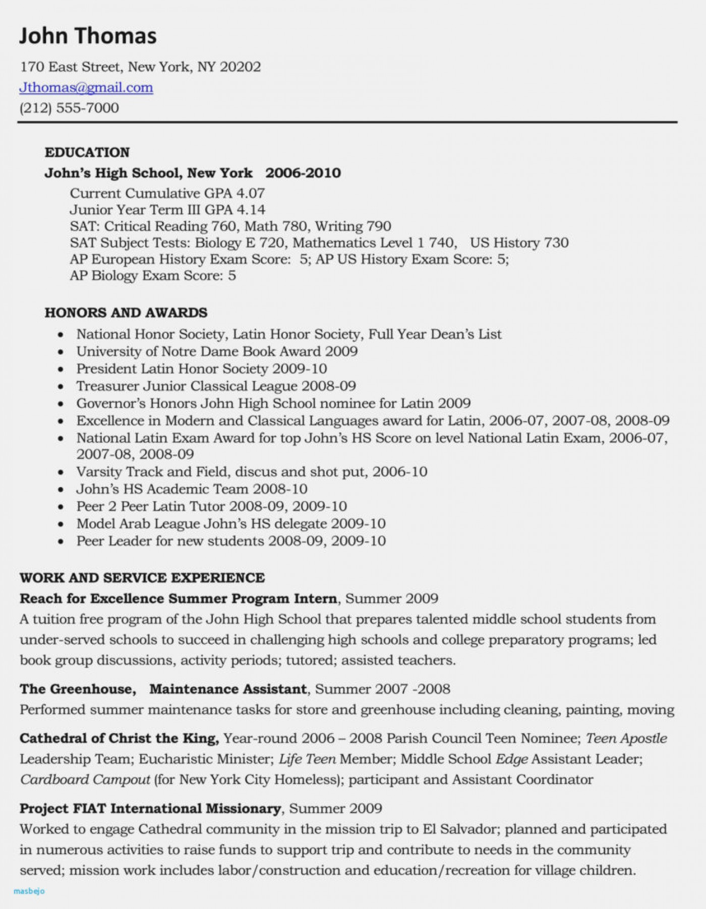 High School College Application Resume Template Free