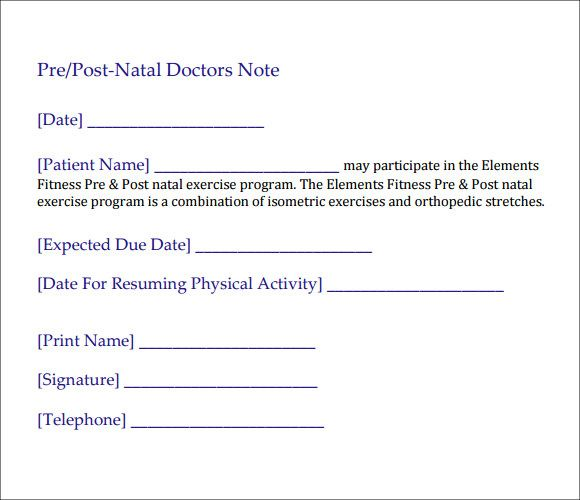 Hospital Doctors Note Template For Work