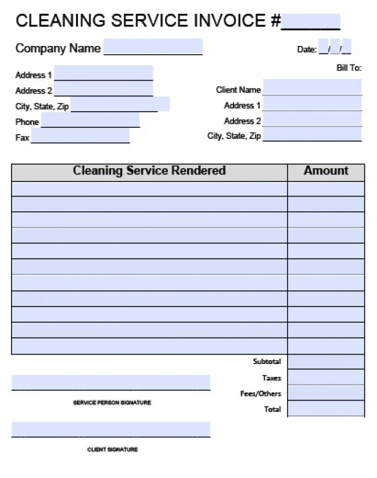 Free Cleaning Invoice Template New House Cleaning Invoice
