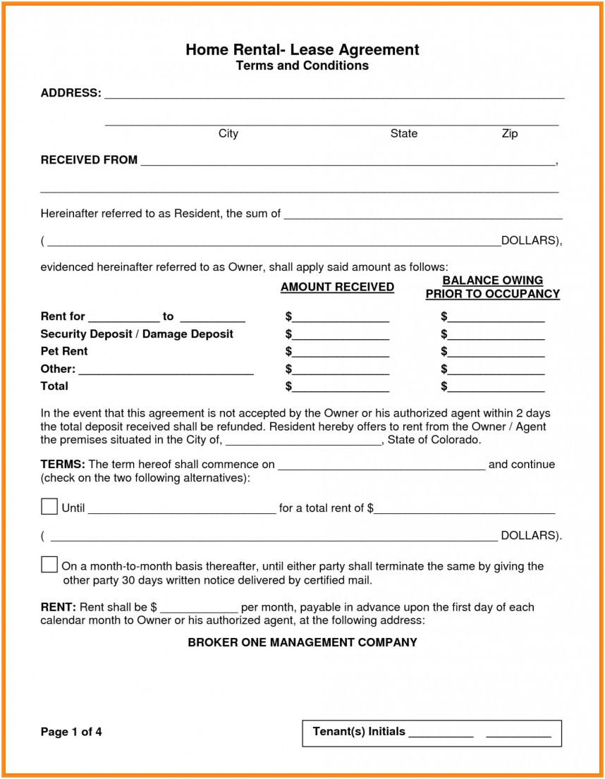 House Rental Lease Agreement Template