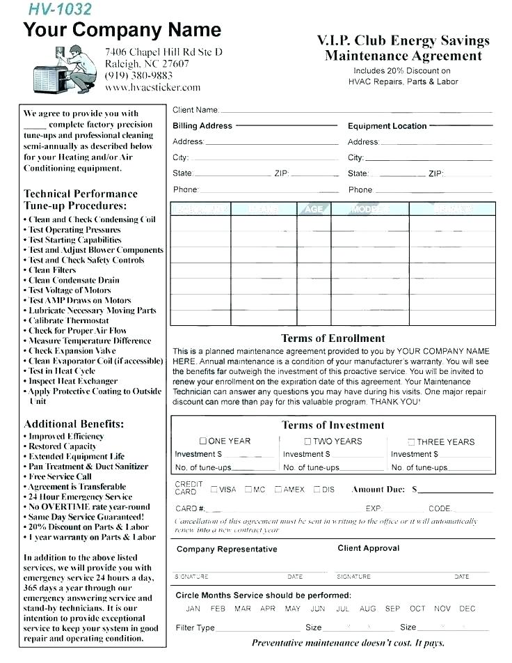 Hvac Maintenance Contract Template