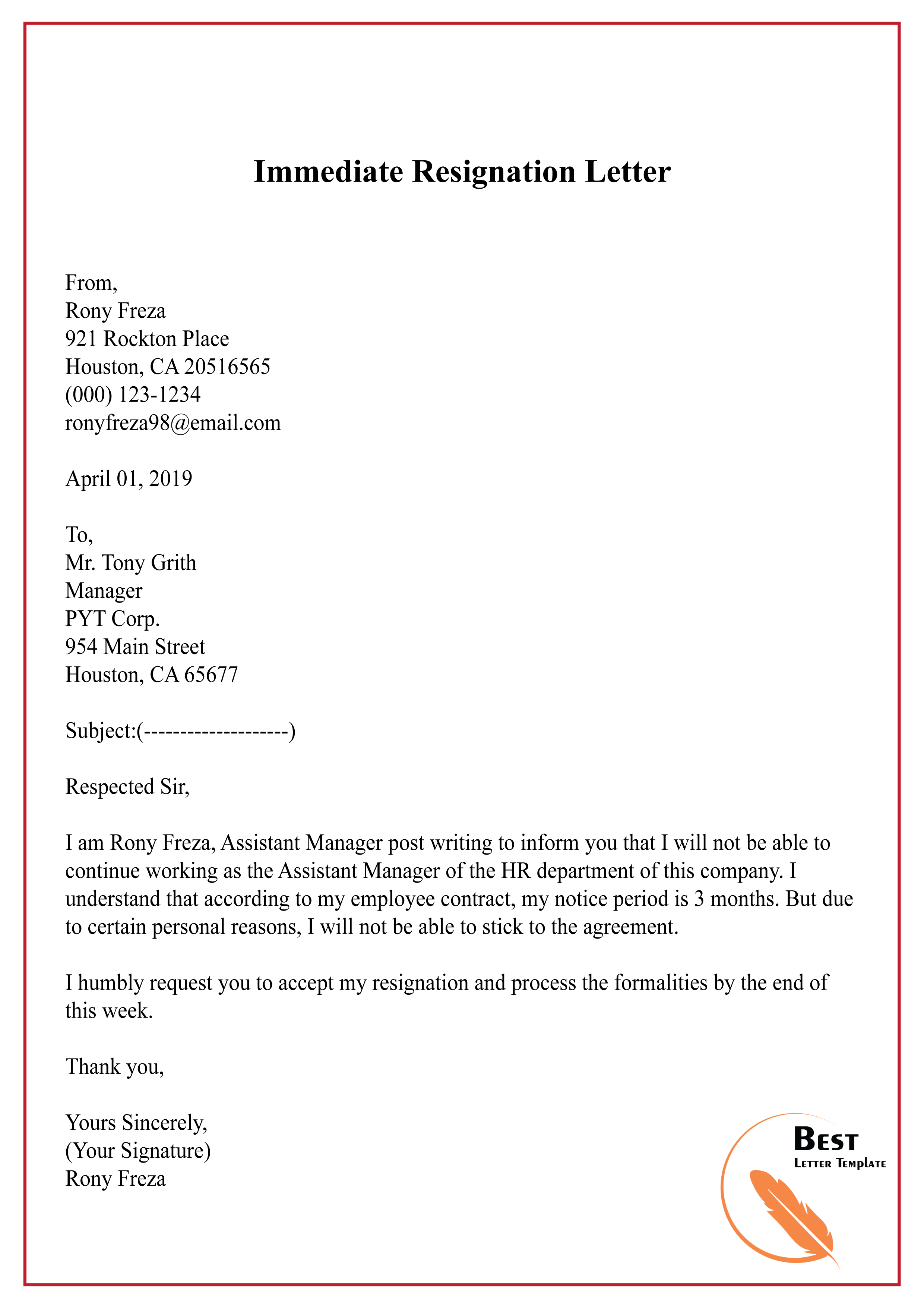 Immediate Resignation Letter Template