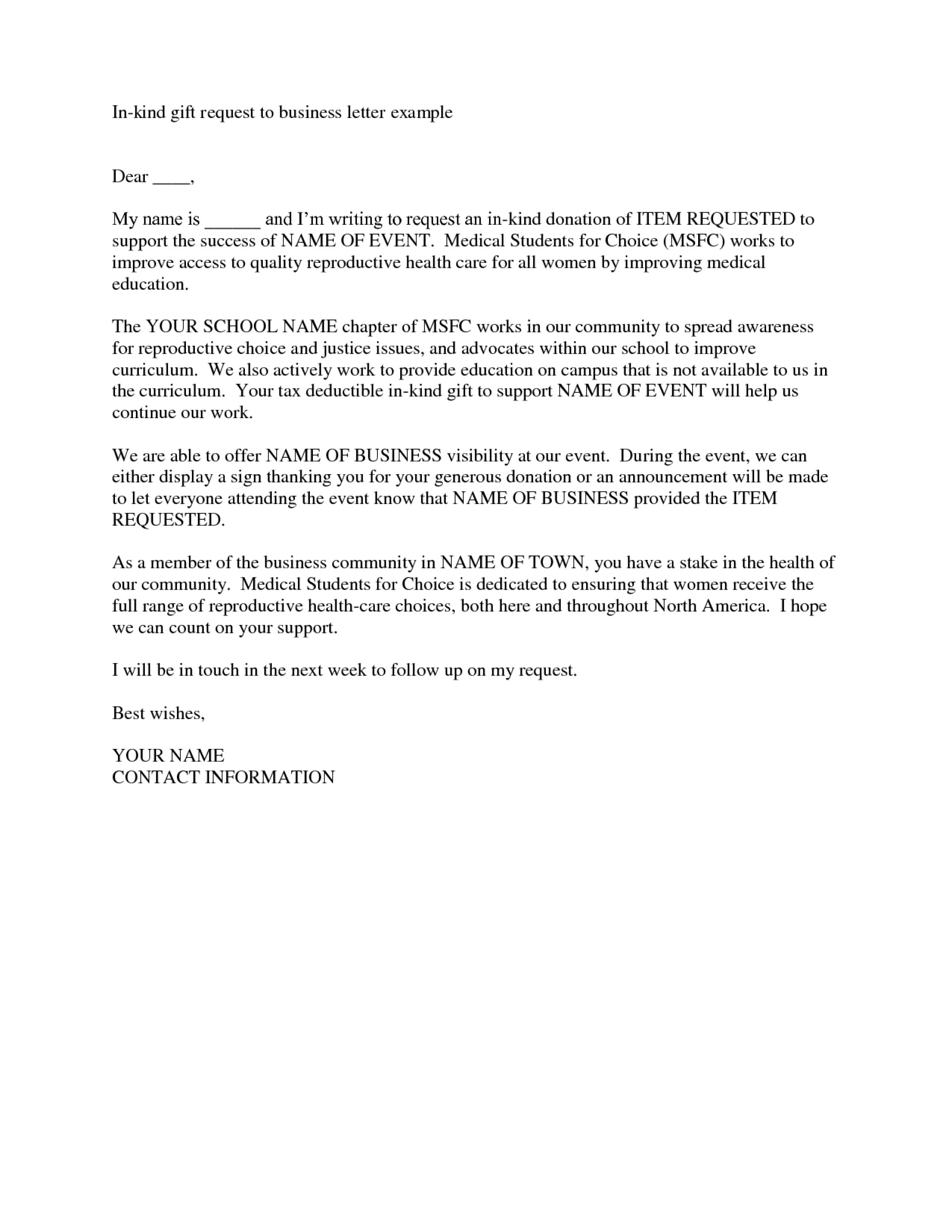 In Kind Donation Request Letter Template