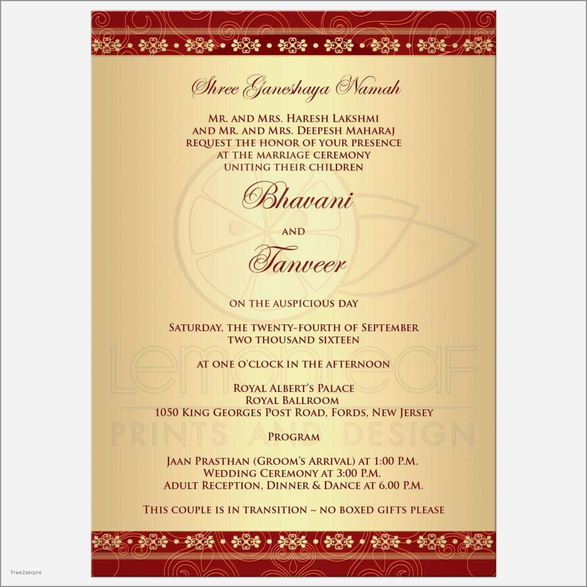Indian Wedding Invitation Wording Templates