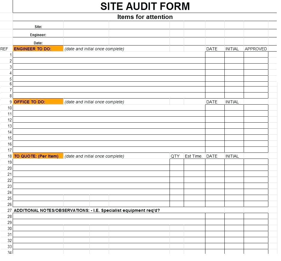 Information Technology Audit Checklist Template Excel