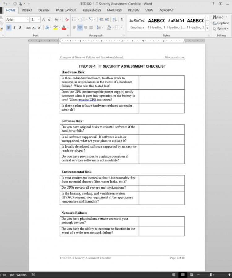 Information Technology Audit Checklist Template