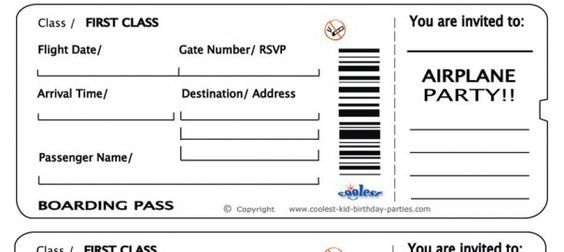 Invitation Airline Ticket Template