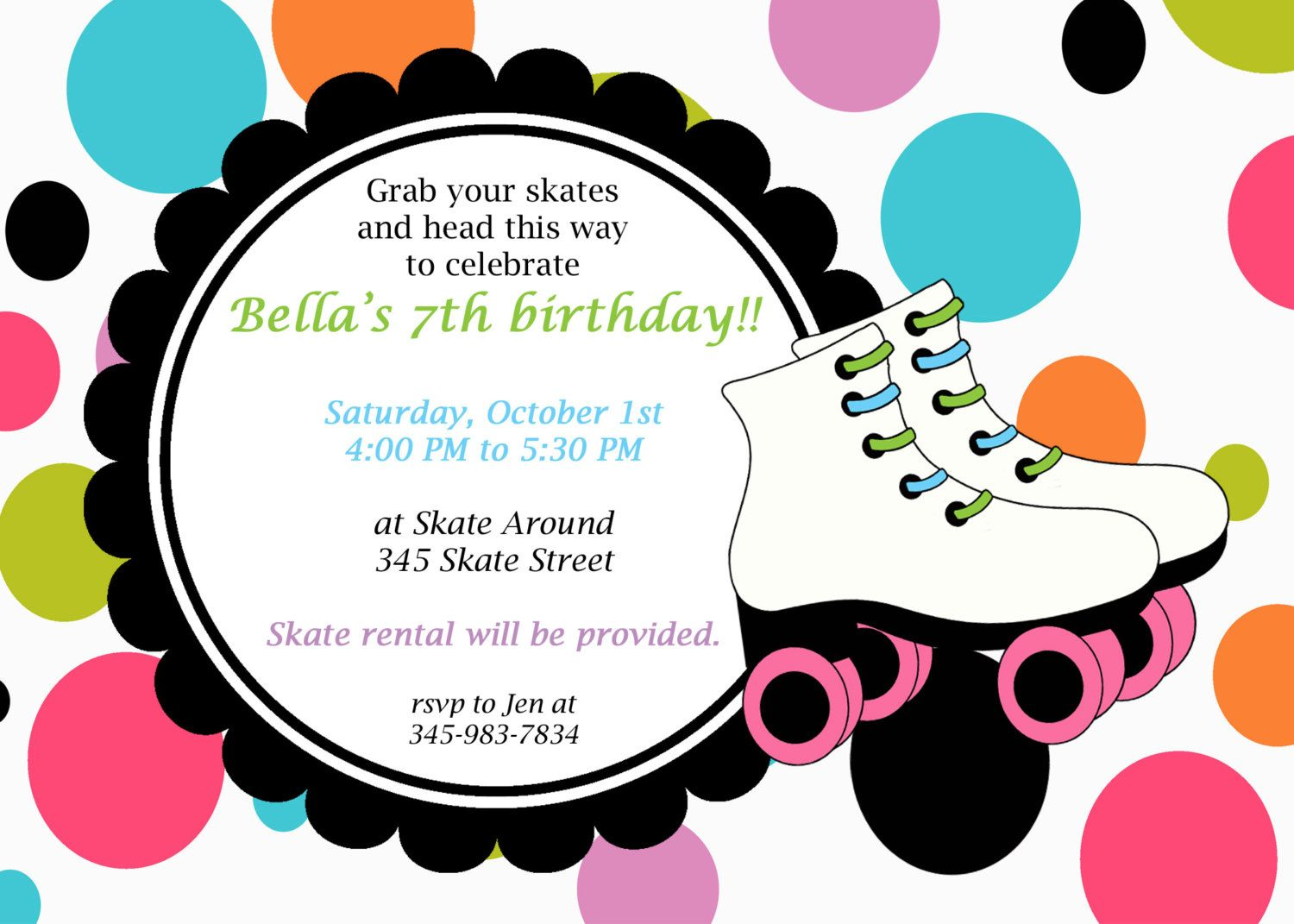 Invitation Template Roller Skating Party Free Printables