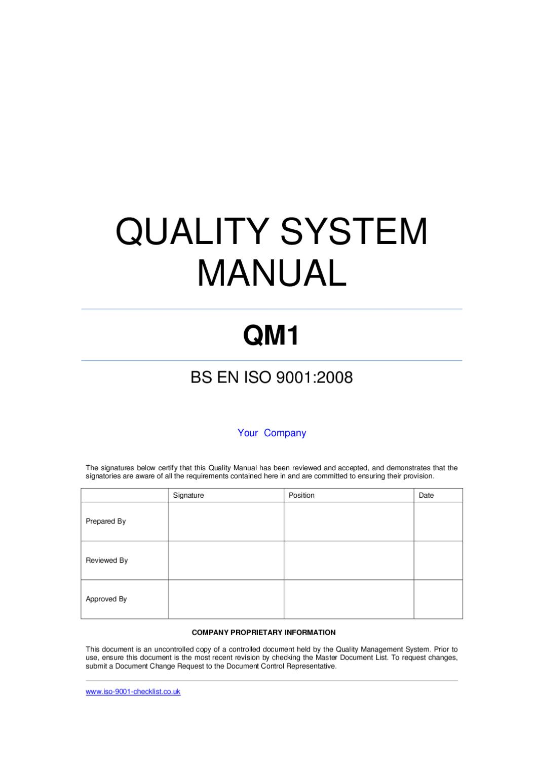 Iso 9001 Quality Manual Template