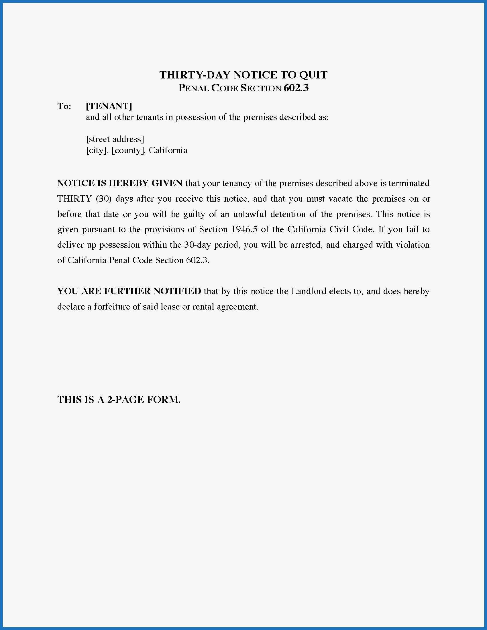 30 Day Notice To Landlord California Template Amazing California 30 Day Notice To Quit Under Penal Code Section