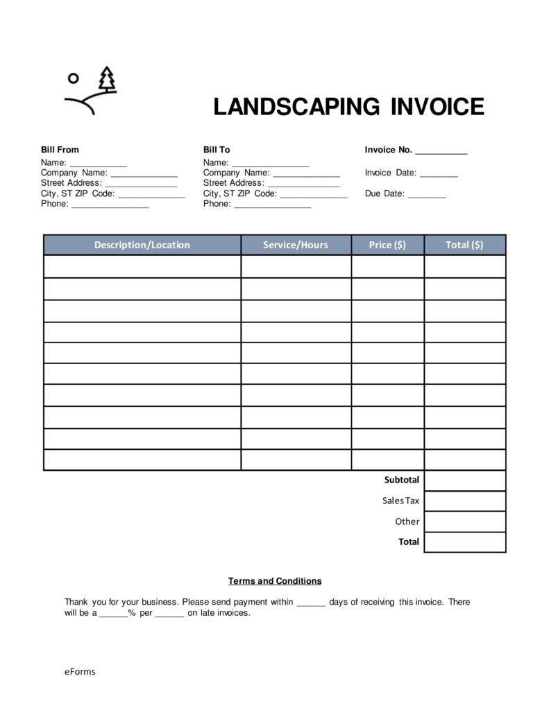 Landscape Invoice Template Free
