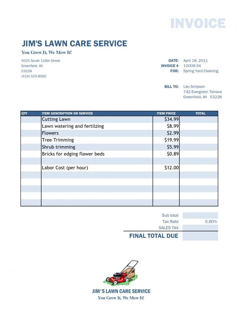 Lawn Care Invoice Template Free