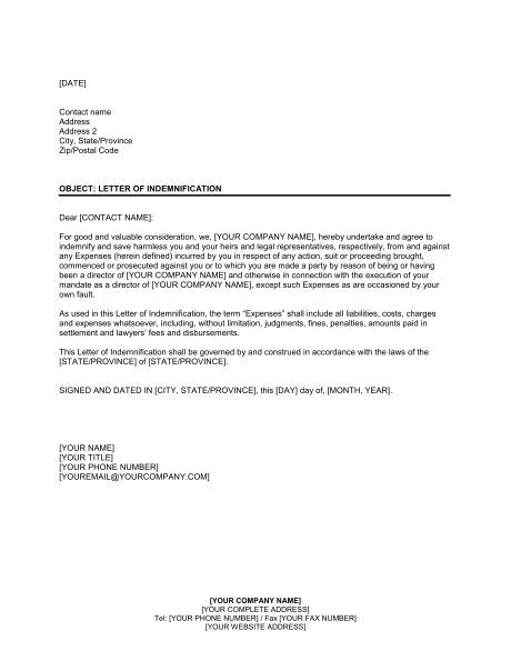 Letter Of Indemnification Template